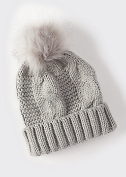 Gray Cable Knit Faux Fur Pom Beanie