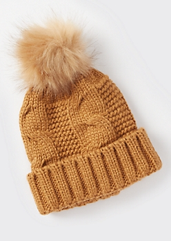 Brown Cable Knit Faux Fur Pom Beanie