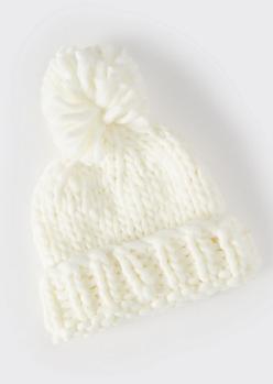 Ivory Cozy Knit Pom Pom Beanie