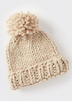 Stone Cozy Knit Pom Pom Beanie