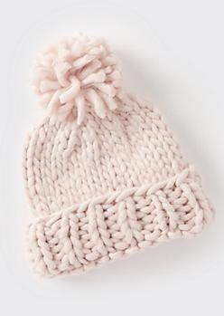 Pink Cozy Knit Pom Pom Beanie
