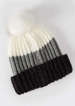 Black Colorblock Faux Fur Pom Beanie