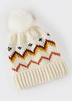 Brown Colorblock Faux Fur Pom Beanie