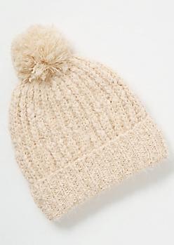 Ivory Eyelash Knit Pom Pom Beanie