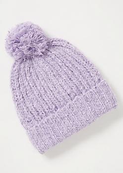 Lavender Eyelash Knit Pom Pom Beanie