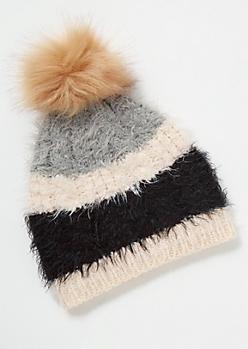 Black Striped Eyelash Knit Beanie