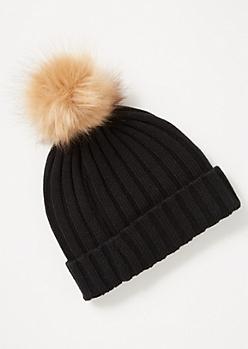 Black Ribbed Knit Pom Pom Beanie