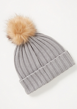 Gray Ribbed Knit Pom Pom Beanie