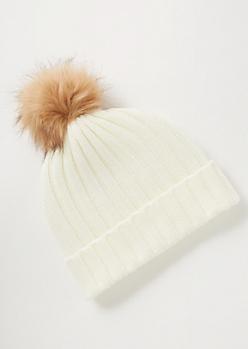 Ivory Ribbed Knit Pom Pom Beanie