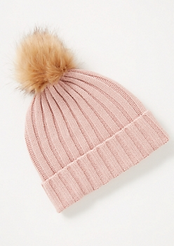 Light Pink Ribbed Knit Pom Pom Beanie