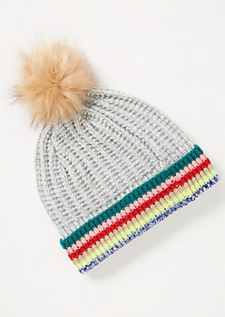 Gray Neon Striped Pom Pom Beanie