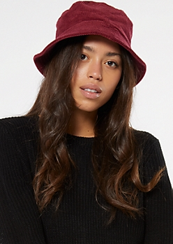 Burgundy Corduroy Bucket Hat