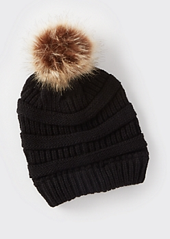 Black Mixed Knit Pom Pom Hat