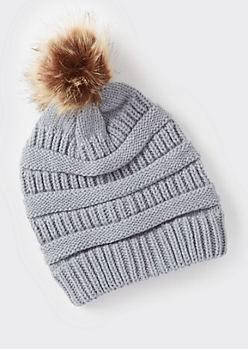 Gray Mixed Knit Pom Pom Hat