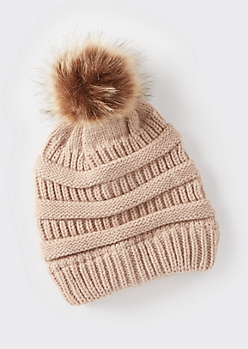 Stone Mixed Knit Pom Pom Hat