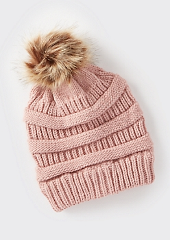 Pink Mixed Knit Pom Pom Hat