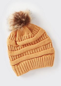 Mustard Mixed Knit Pom Pom Hat