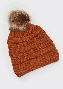 Burnt Orange Mixed Knit Pom Pom Hat