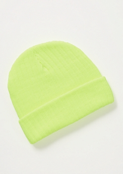 Neon Yellow Ribbed Knit Beanie