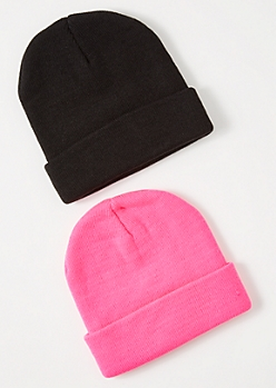 2-Pack Hot Pink Beanie Set