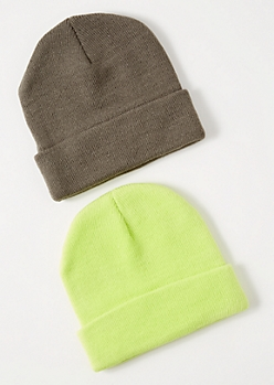 2-Pack Neon Green Beanie Set