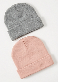 2-Pack Light Pink Beanie Set