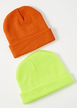 2-Pack Neon Orange Beanie Set
