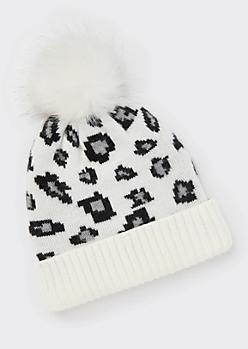 White Leopard Print Pom Pom Beanie
