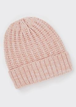 Pink Marled Knit Beanie