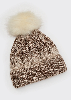 Brown Ombre Cable Knit Pom Pom Beanie