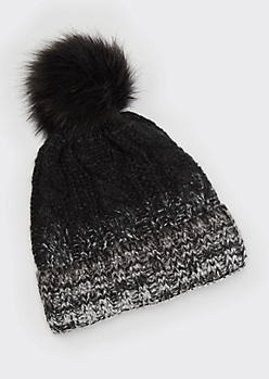 Black Ombre Cable Knit Pom Pom Beanie