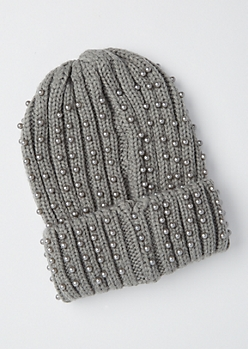 Gray Pearl Embellished Beanie