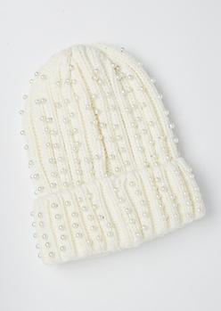 Ivory Pearl Embellished Beanie
