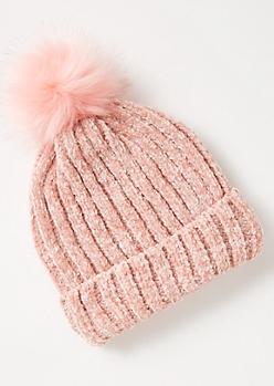 Pink Metallic Chenille Pom Pom Beanie