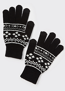 Black Fair Isle Tech Finger Gloves
