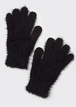 Black Eyelash Knit Tech Finger Gloves