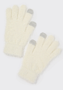 Ivory Eyelash Knit Tech Finger Gloves