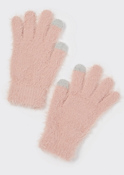Pink Eyelash Knit Tech Finger Gloves
