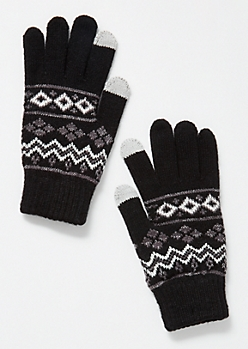 Black Fair Isle Tech Gloves