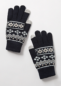 Navy Fair Isle Tech Gloves