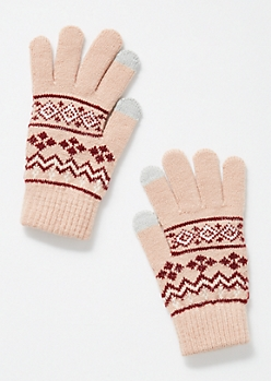 Pink Fair Isle Tech Gloves