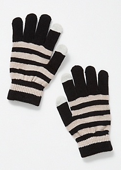 Black Striped Tech Gloves