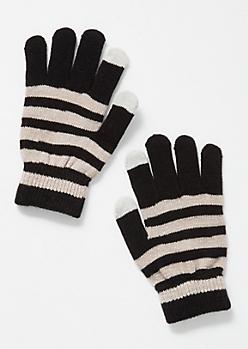 Black Striped Tech Gloves