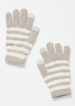 Gray Striped Tech Gloves
