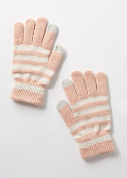 Pink Striped Tech Gloves