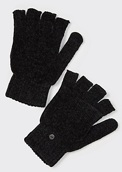 Black Chenille Flip-Top Fingerless Gloves