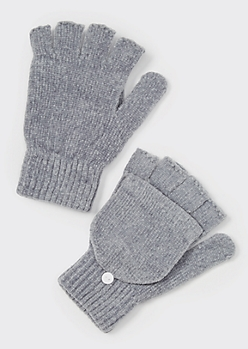 Gray Chenille Flip-Top Fingerless Gloves
