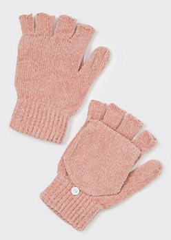 Pink Chenille Flip-Top Fingerless Gloves