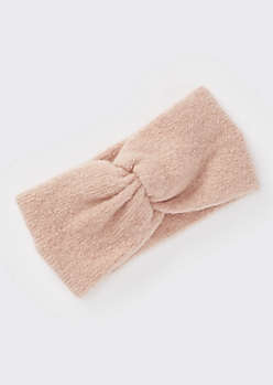 Pink Soft Knit Ruched Headwrap