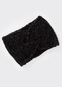Black Chenille Twist Headwrap